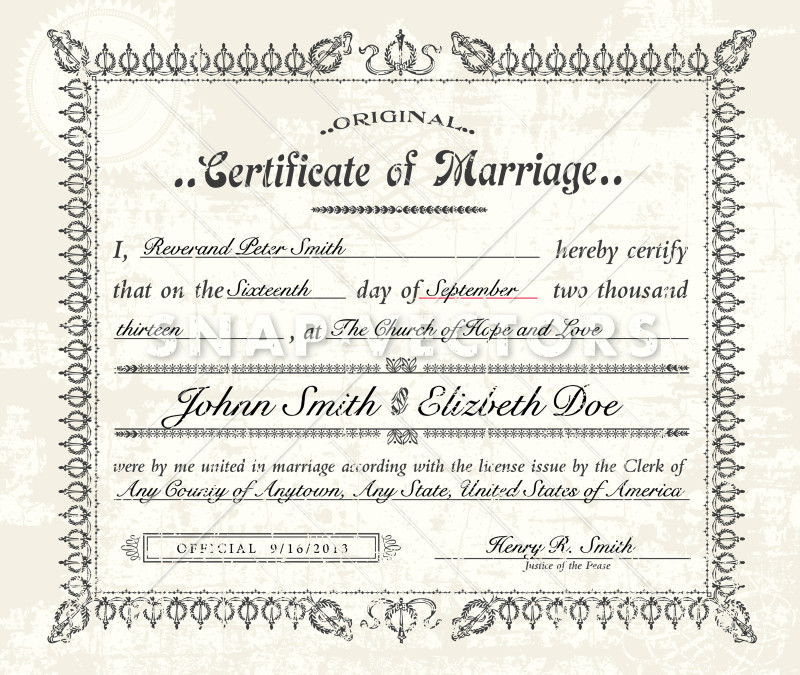 Vector Vintage Marriage Certificate on Old Paper