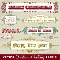 Vector Clipart Vintage Christmas and Holiday Labels