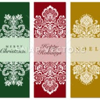 Vector Holiday Damask Ornaments on Christmas Cards