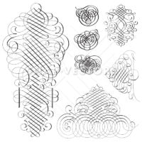 Vector Clipart Fancy Swirl Ornament Set