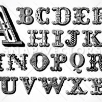 vintage alphabet and font