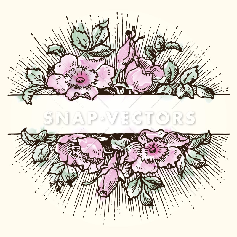 Vector Clipart Watercolor Flower Frame - Snap Vectors
