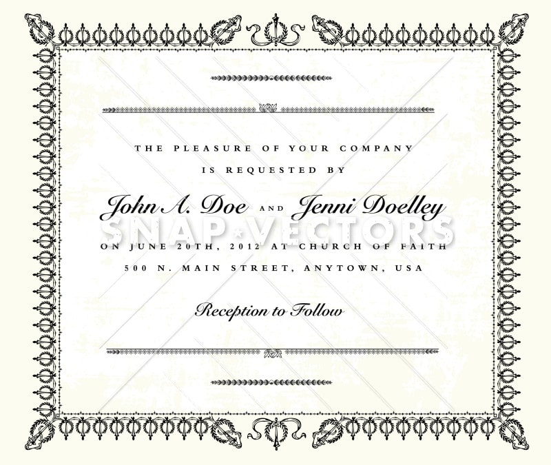 Vector Clipart Ornate Wreath Wedding Frame Certificate