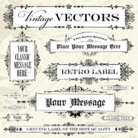 Vector Clipart Victorian Frame Template Set