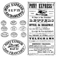 Vector Clipart Pony Express Stamps and Poster