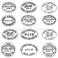 Vector Clipart Pony Express Stamps and Labels