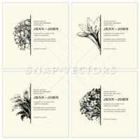 Vector Clipart Flower and Floral Square Frames
