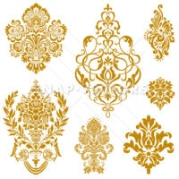 Vector Clipart Gold Damask and Floral Ornament Set