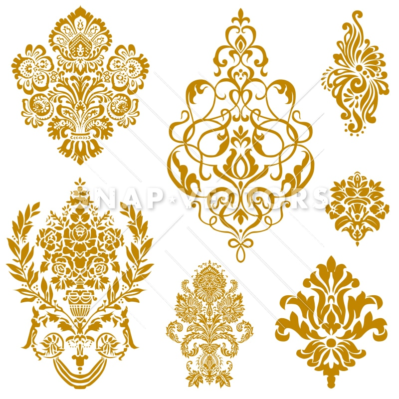 vector clipart gold damask and floral ornament set snap vectors