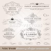 Vector Calligraphic Frame and Ornament Set