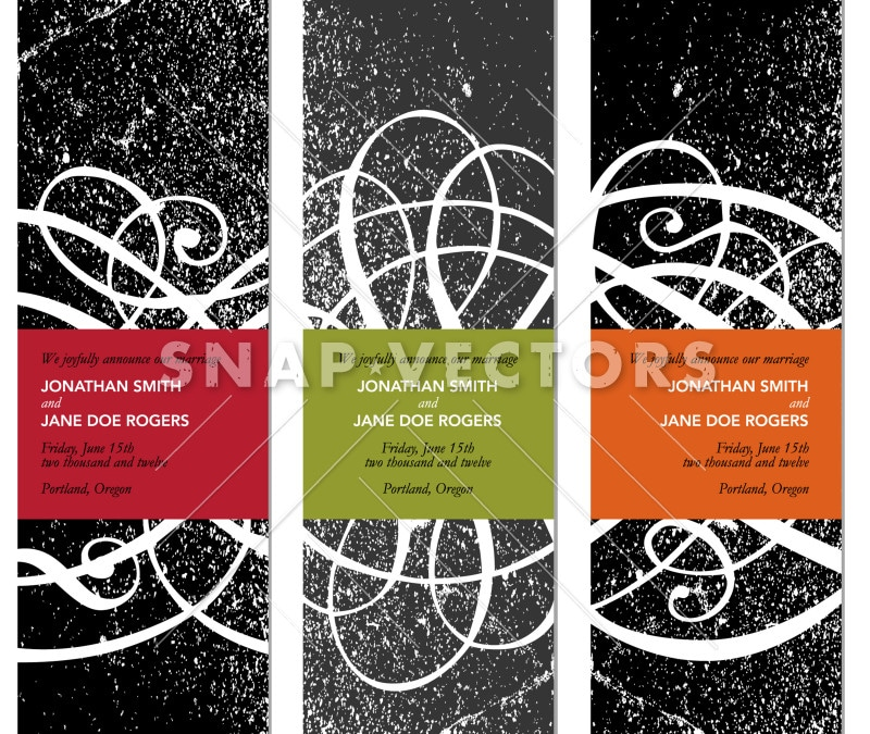 Vector Clipart Tall Swirl Frame Set with Distress