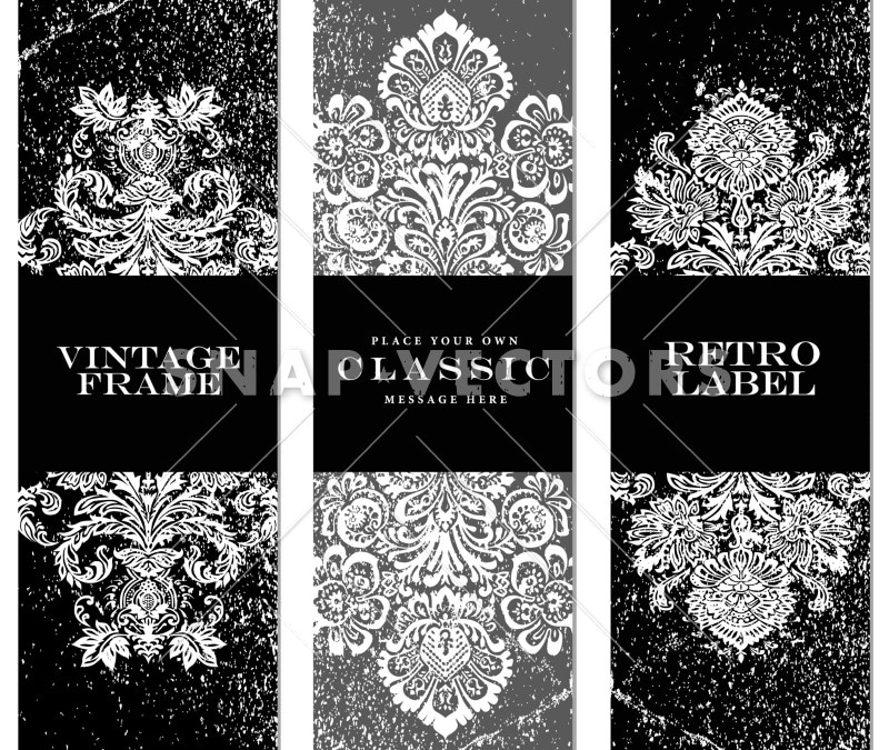 Vector Clipart Damask Frame Set with Distress Overlays
