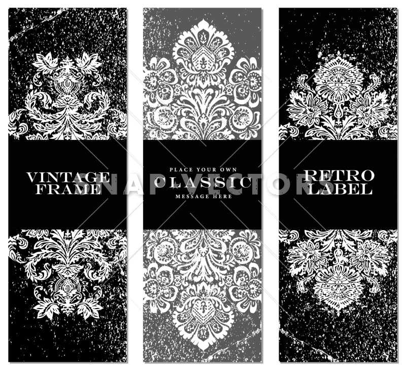 Vector Clipart Damask Frame Set with Distress Overlays - Snap Vectors