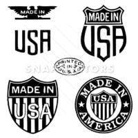 Vector Retro Clipart Made In The USA Stamps