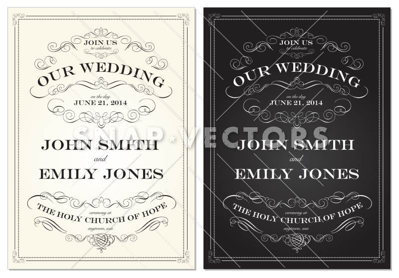 Vector Victorian Wedding Invitation with Ornaments
