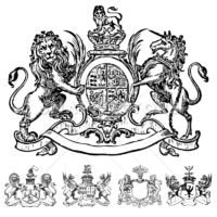 Vector Clipart of Victorian Lion Crests