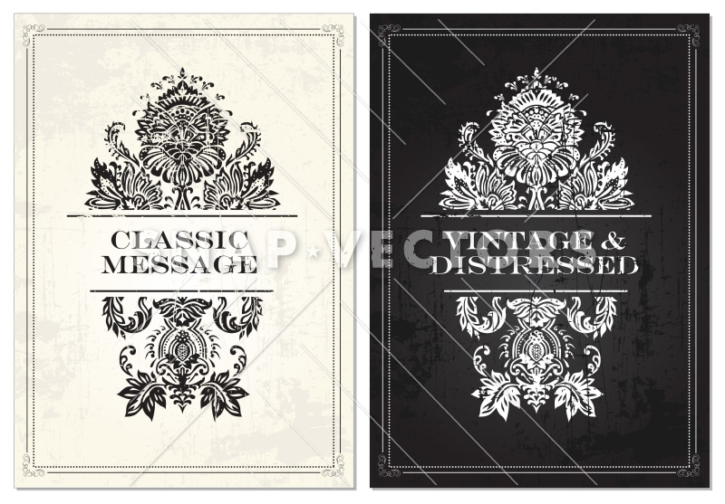 Vector Clipart  of Ornament Frames with Distress