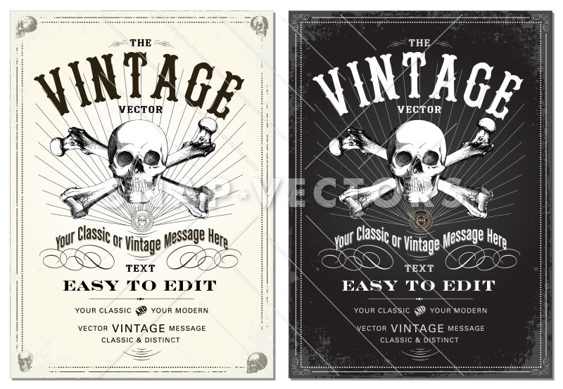 Vector Clipart Skull and Distressed Frame