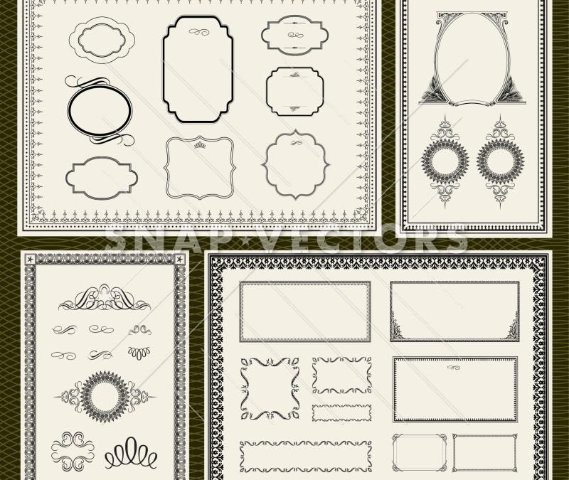 Vector Clipart of Big Frame and Border Set