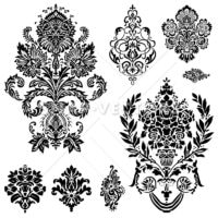 Vector Clipart of Damask Ornament Set