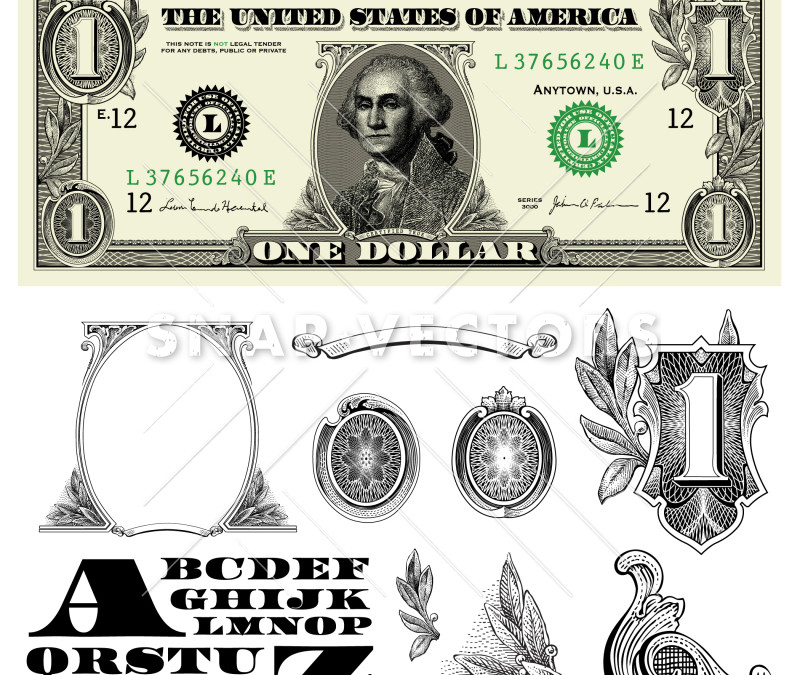 Money and Dollar Bill Elements Vector Clipart