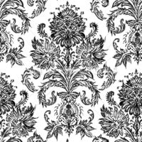 Vector Hand Drawn Sketch Damask Pattern