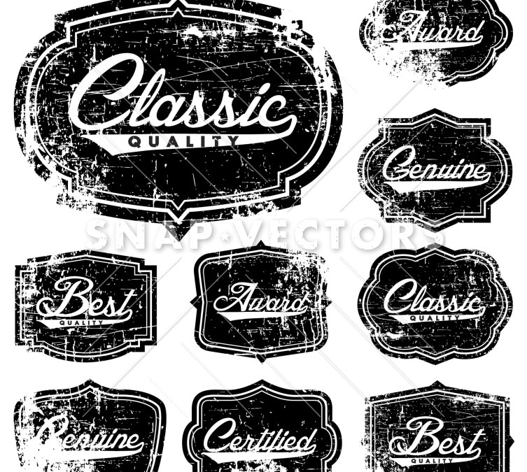 Vector Clipart Distress Frame and Badge Set