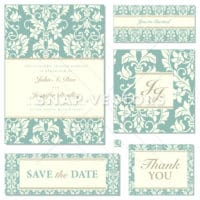 Vector Clipart of Wedding Stationary Set