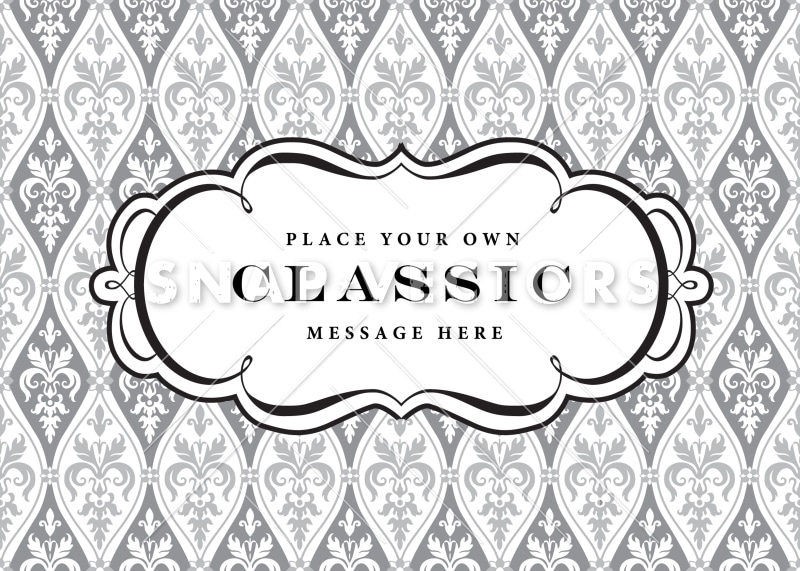 Vector Clipart Frame and Damask Pattern
