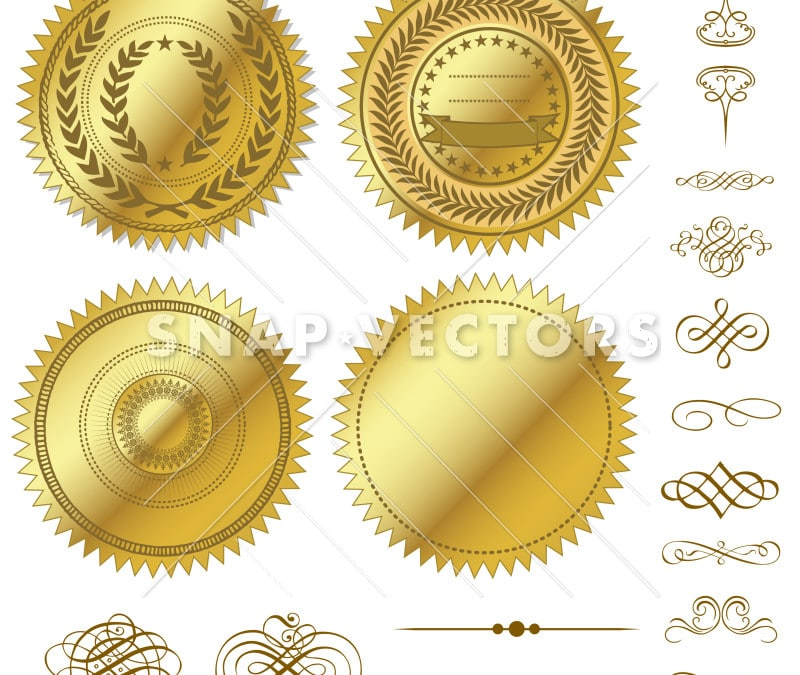 Vector Clipart Gold Seal and Ornaments Set