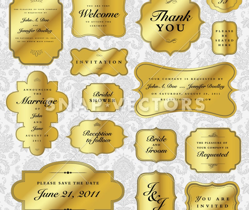 Vector Clipart Set of Small Gold Frames