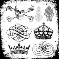Vector Clipart Grunge Skull and Crown Ornaments