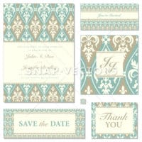 Vector Matching Wedding Stationary  with Ornaments