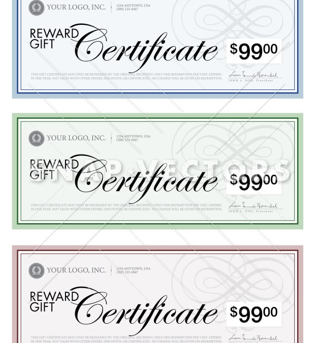 Vector Illustration of Business Gift Certificate Set