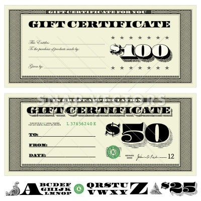 vector money gift certificate set snap vectors