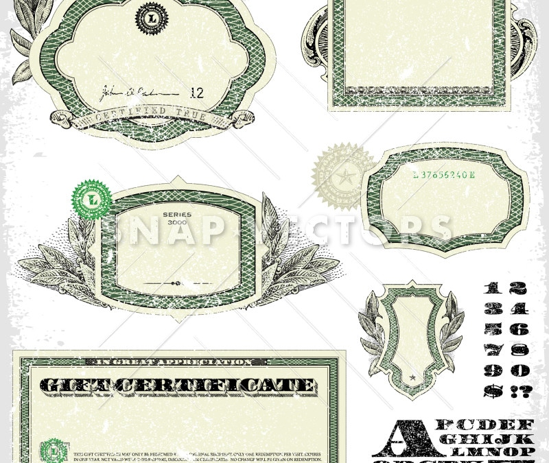 Vector Clipart of Distressed Money Frames