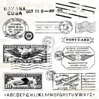 Vector Clipart of Vintage Airmail Stamps