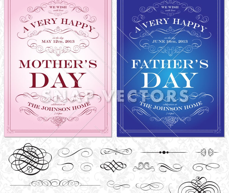 Vector Illustration of Ornament Frame Sets for Mothers and Fathers Day
