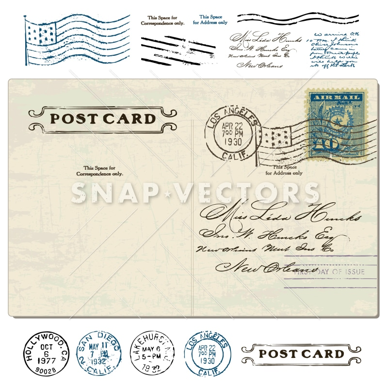 Vector Clipart Illustration of a Vintage Postcard