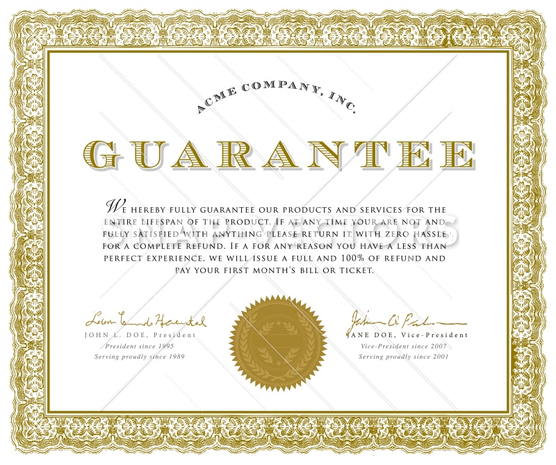 Vector Clipart Illustration of a Guarantee Certificate