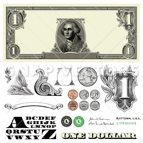Dollar Template and Coin Vector Set