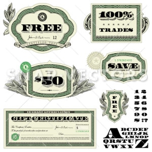 Vector Dollar Badge Set with Money Frames