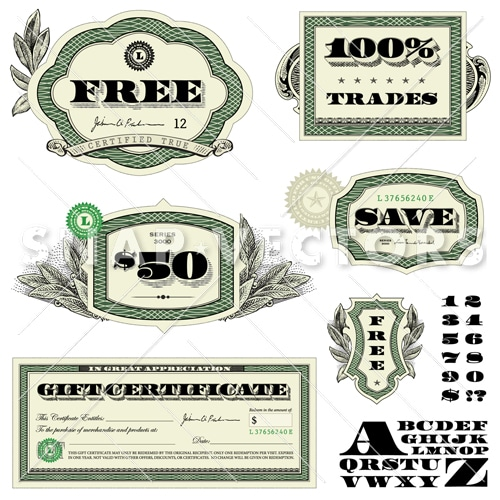 Vector Dollar Badge Set with Money Frames - Snap Vectors