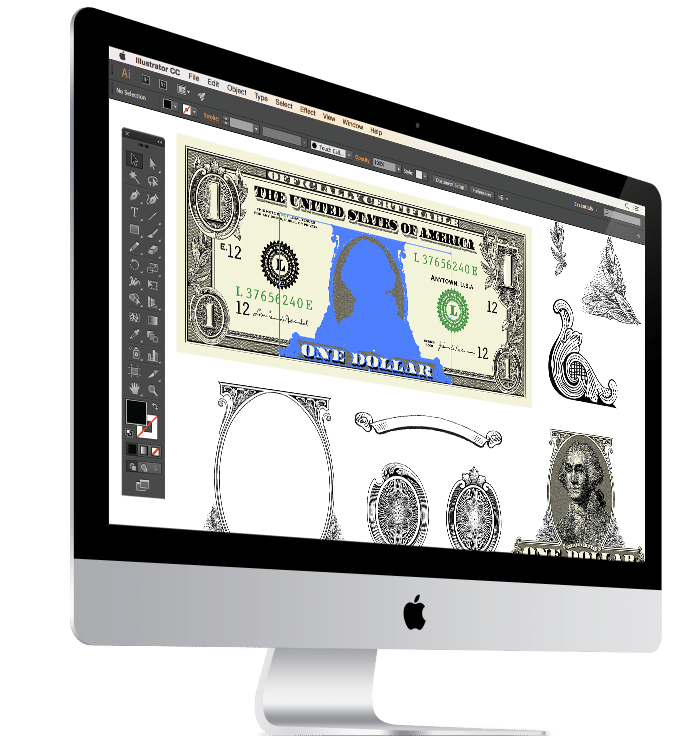 Easy to edit dollar bill vector images