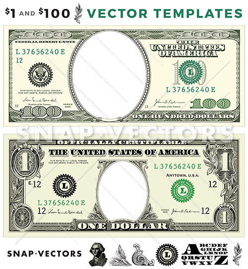 Vector 100 And 1 Dollar Template Set Snap Vectors