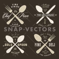Easy to edit! Clipart set of vintage hipster restaurant badges. Great for any food design, retro badge or label project.