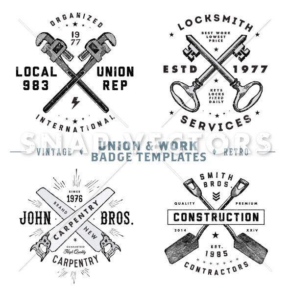 work badges template - vector retro union and vintage logo template set snap