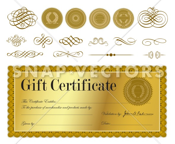 Vector Clipart of Gold Gift Certificate and Seals