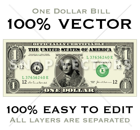 clipart money one dollar bill highly detailed vector one dollar bill ...