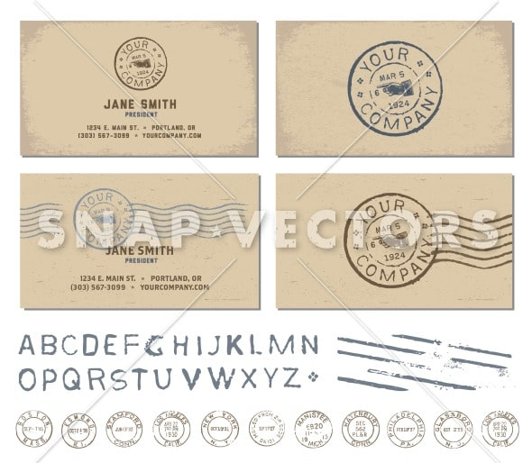 Vector retro stamp business card template snap vectors for Company stamp template